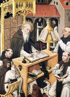 Interior of a Scriptorium, School of Segovia (oil on panel)