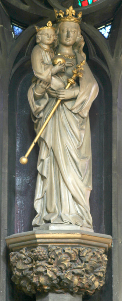 Statue of Virgin and Child from above the North Door of the Cathedral Church of St Marie, which is believed to come from the Chapel that stood on the site of the Cathedral