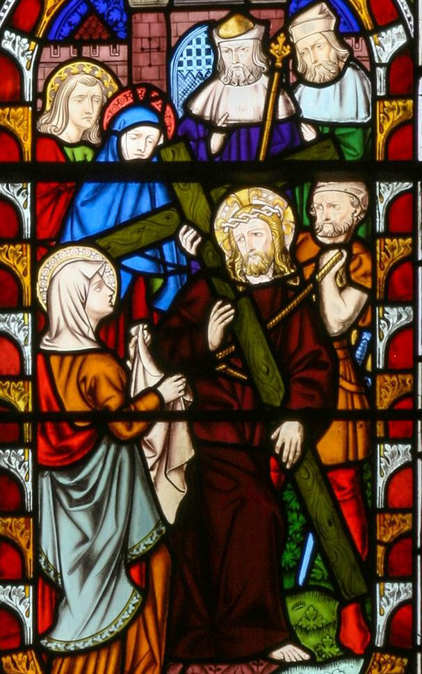 Abraham and Isaac and Jesus and St Veronica in the West Window