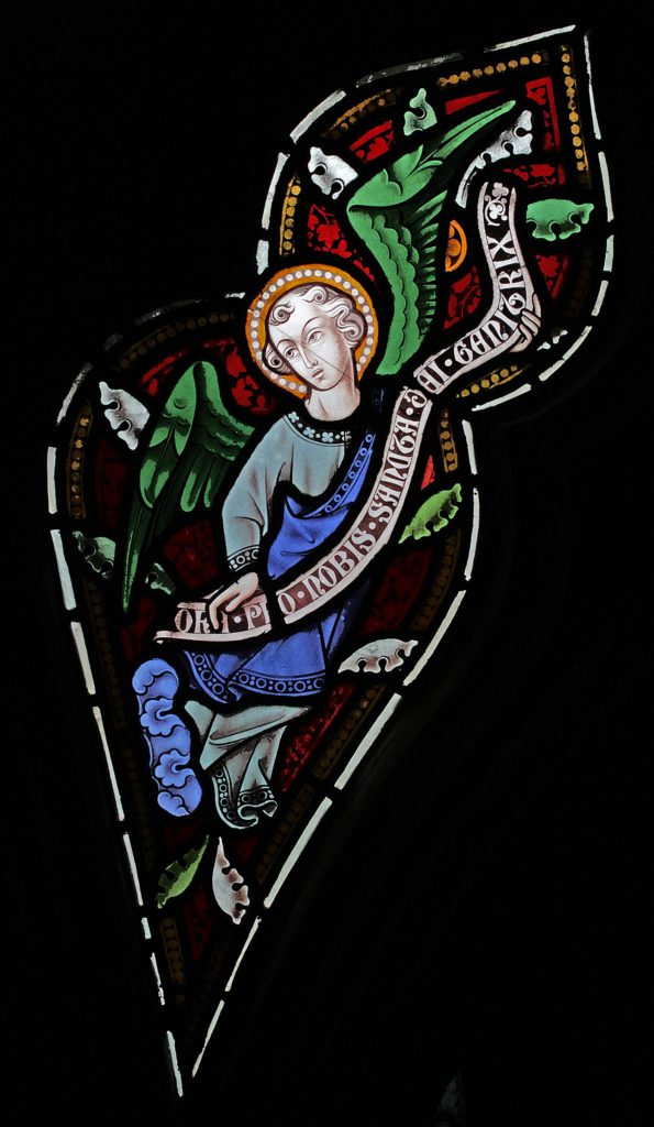 Angel with Banner in the tracery of St Marie's West Window