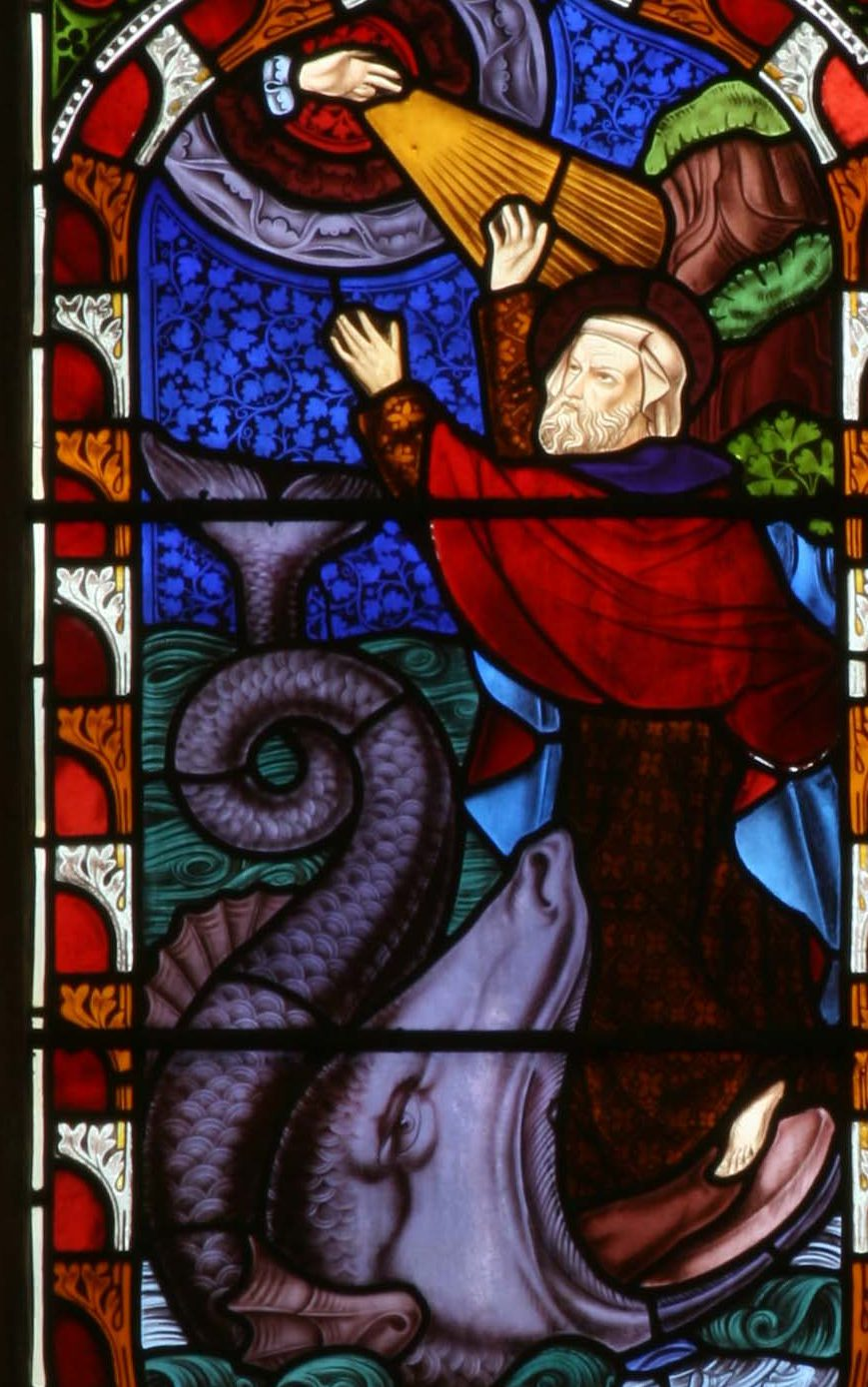 Jonah escapes the whale and Christ rises from the tomb