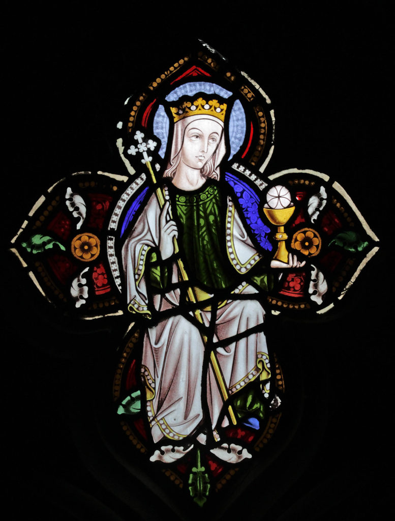 Image of Peace in the tracery of St Marie's West Window