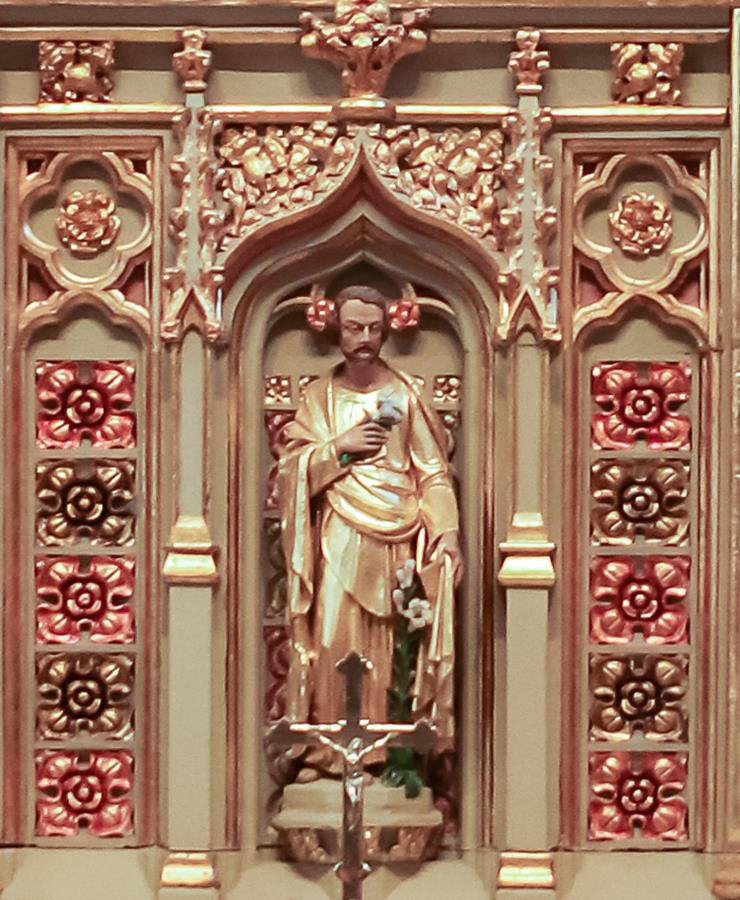 St Joseph in the reredos above the altar in the St Joseph Chapel of St Marie's Cathedral.