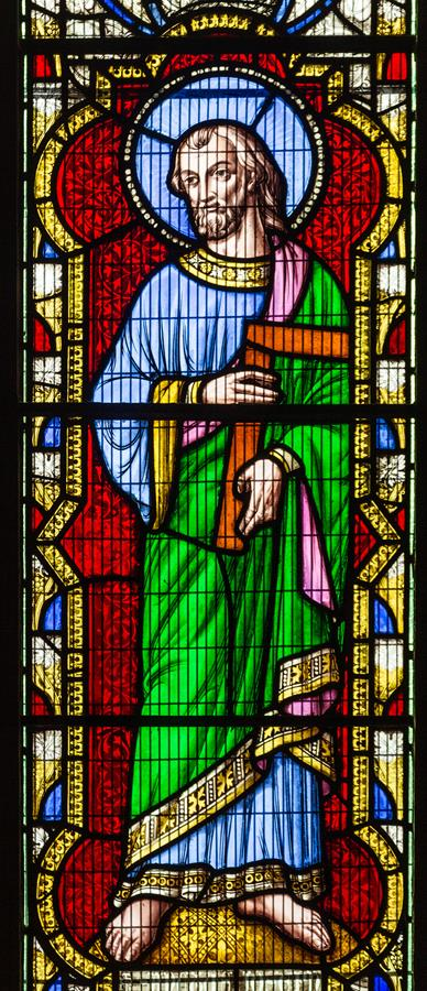 St Joseph the Worker depicted in St Marie's South Transept