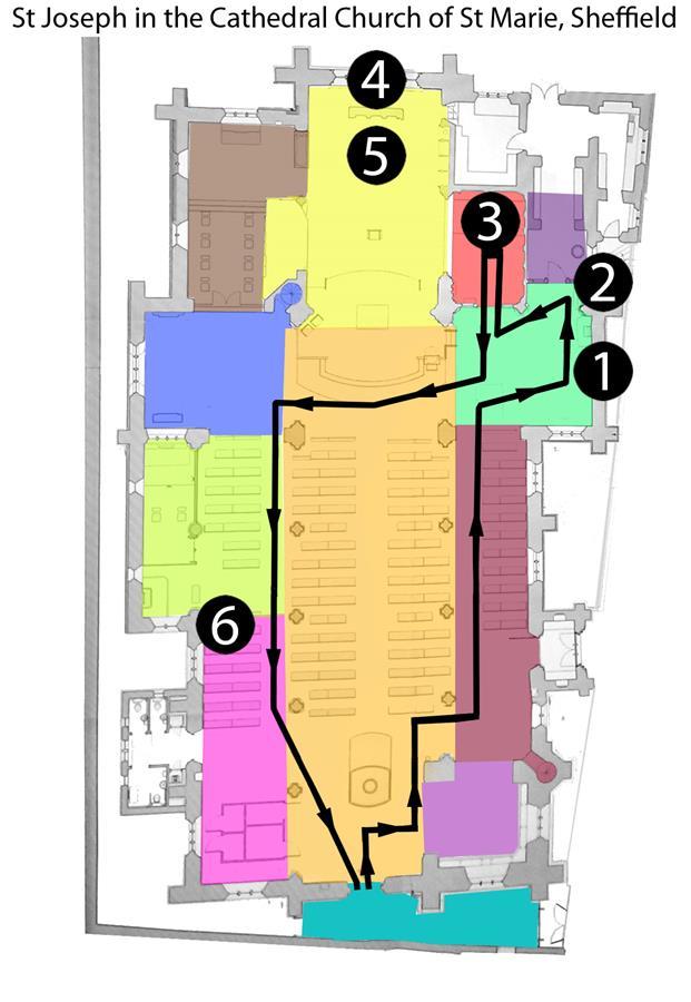 Tour route for visting memorials to St Joseph.