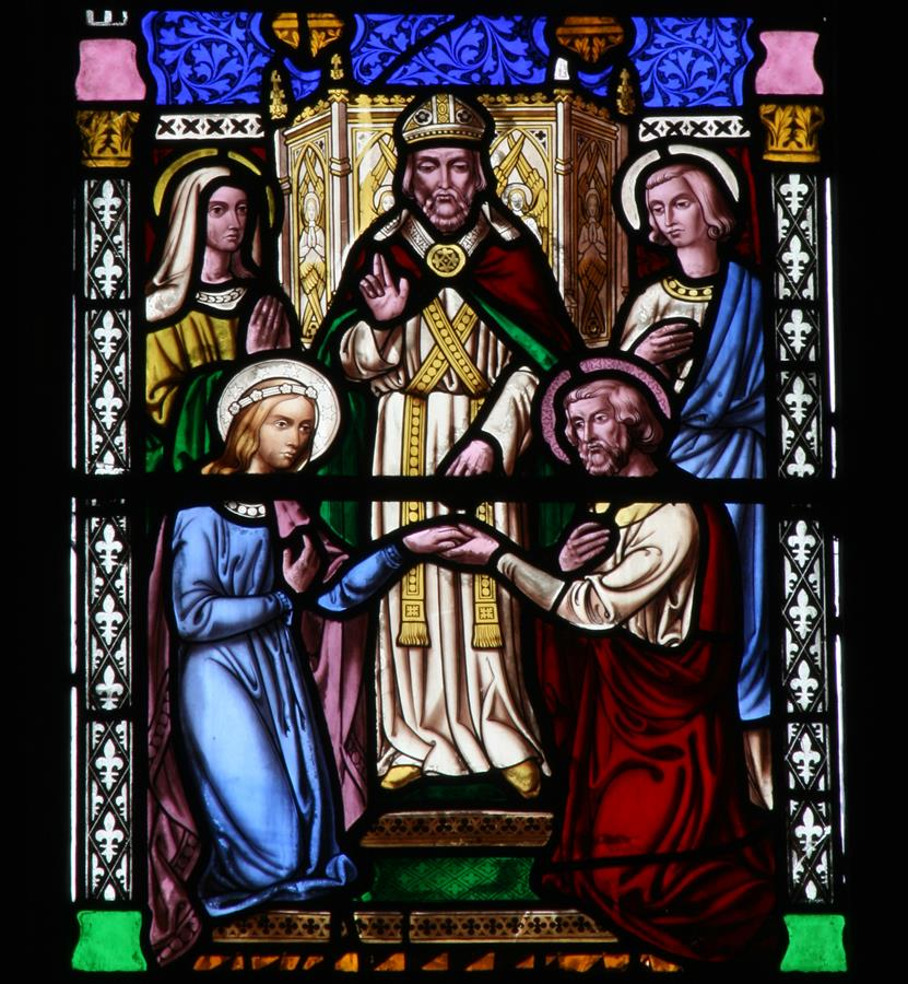 The betrothal of Mary and Joseph, shown in St Marie's East Window