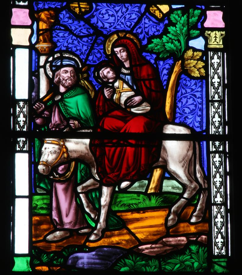 The Flight into Egypt, shown in St Marie's East Window.