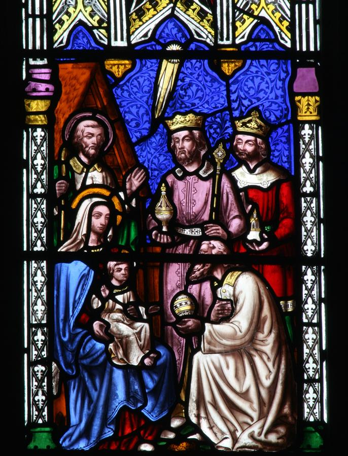 The Magi visting the Holy Famly. shown in St Marie's East Window