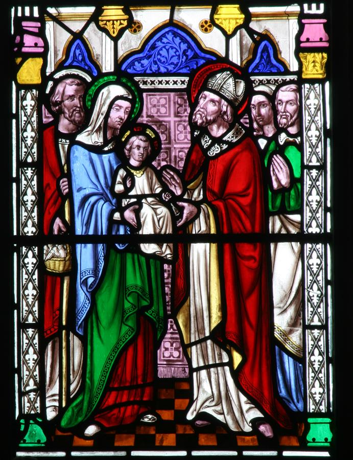 The Presentation of Christ in the Temple shown in St Marie's East Window